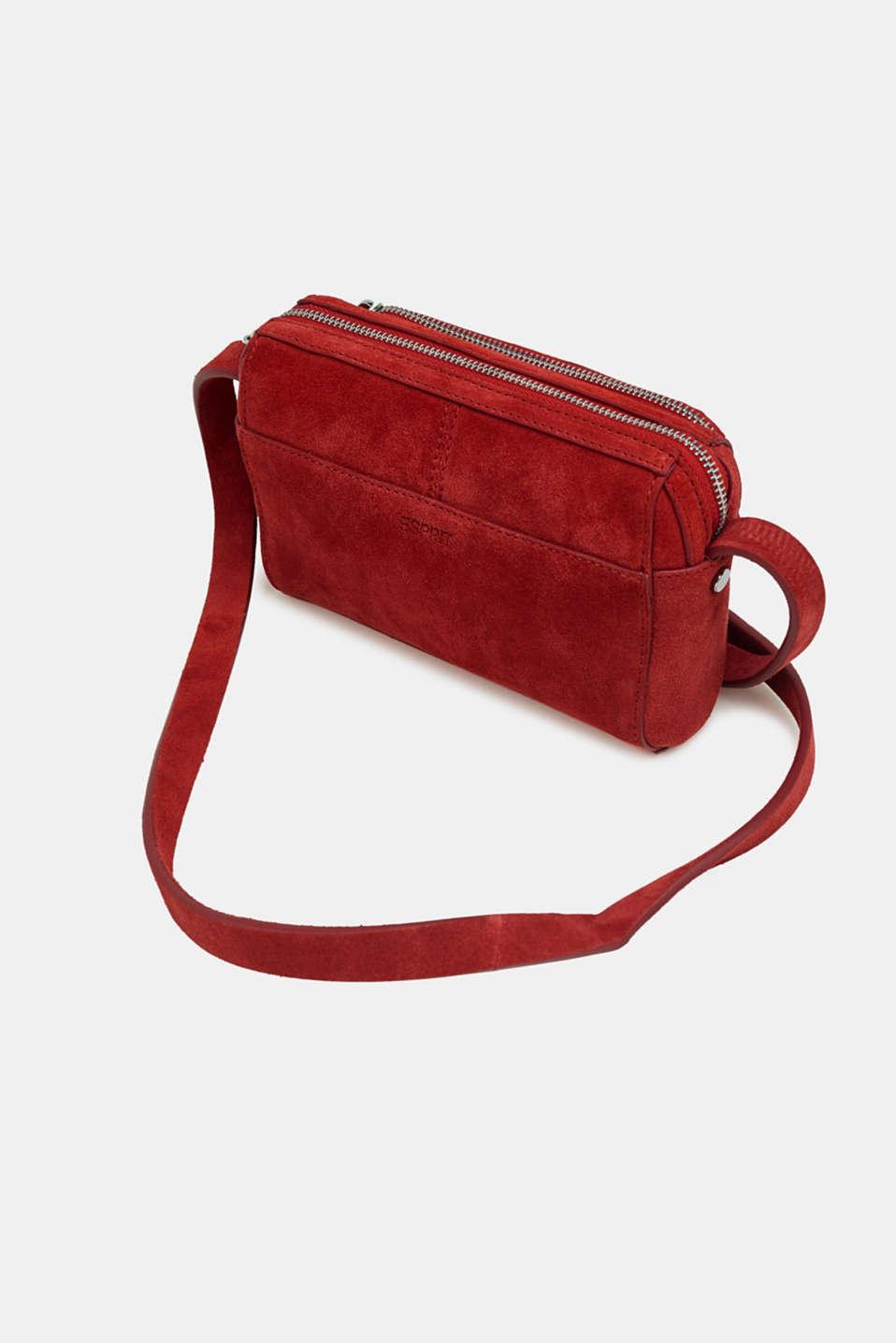 Small shoulder bag made of suede, RED, detail image number 5