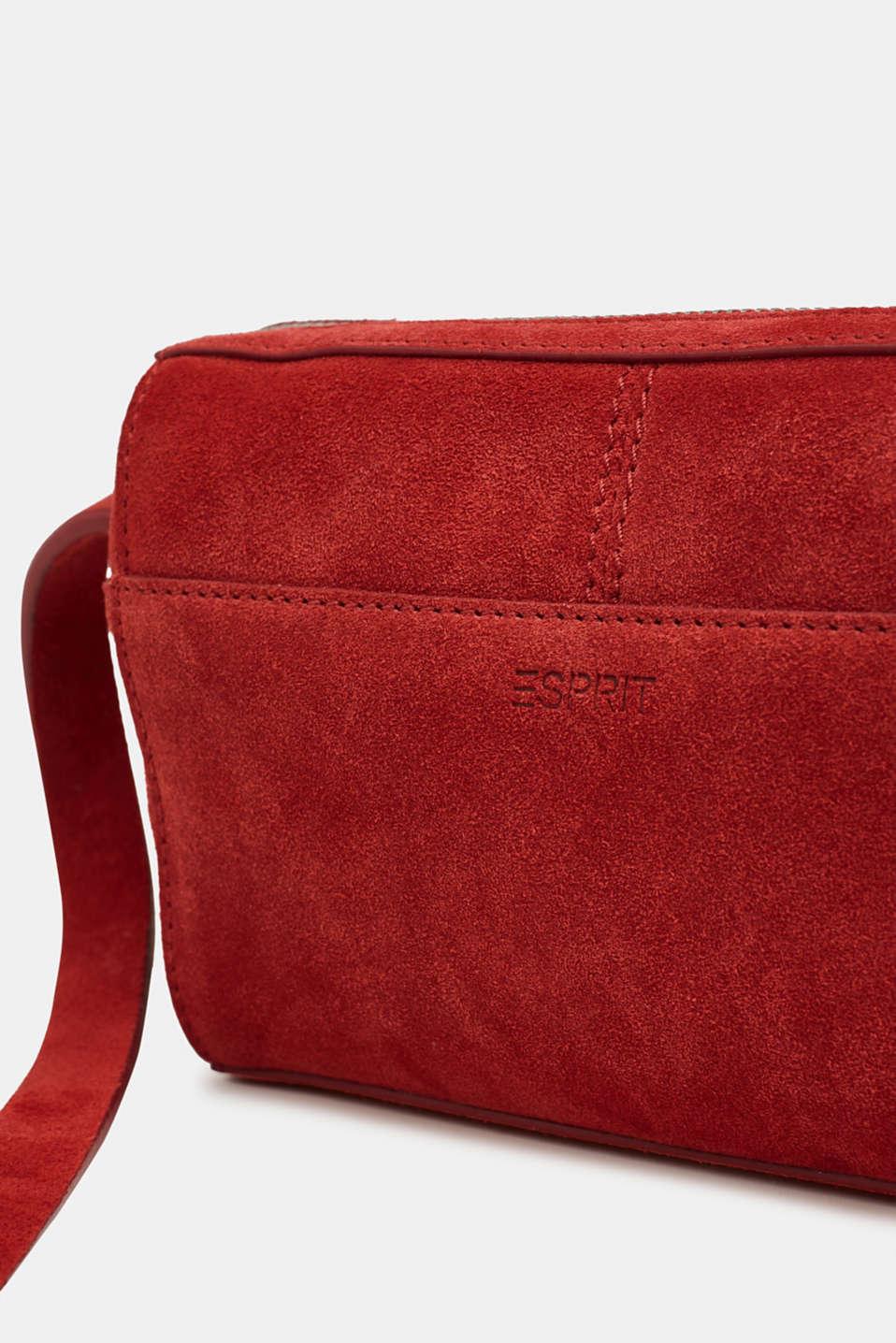 Small shoulder bag made of suede, RED, detail image number 3