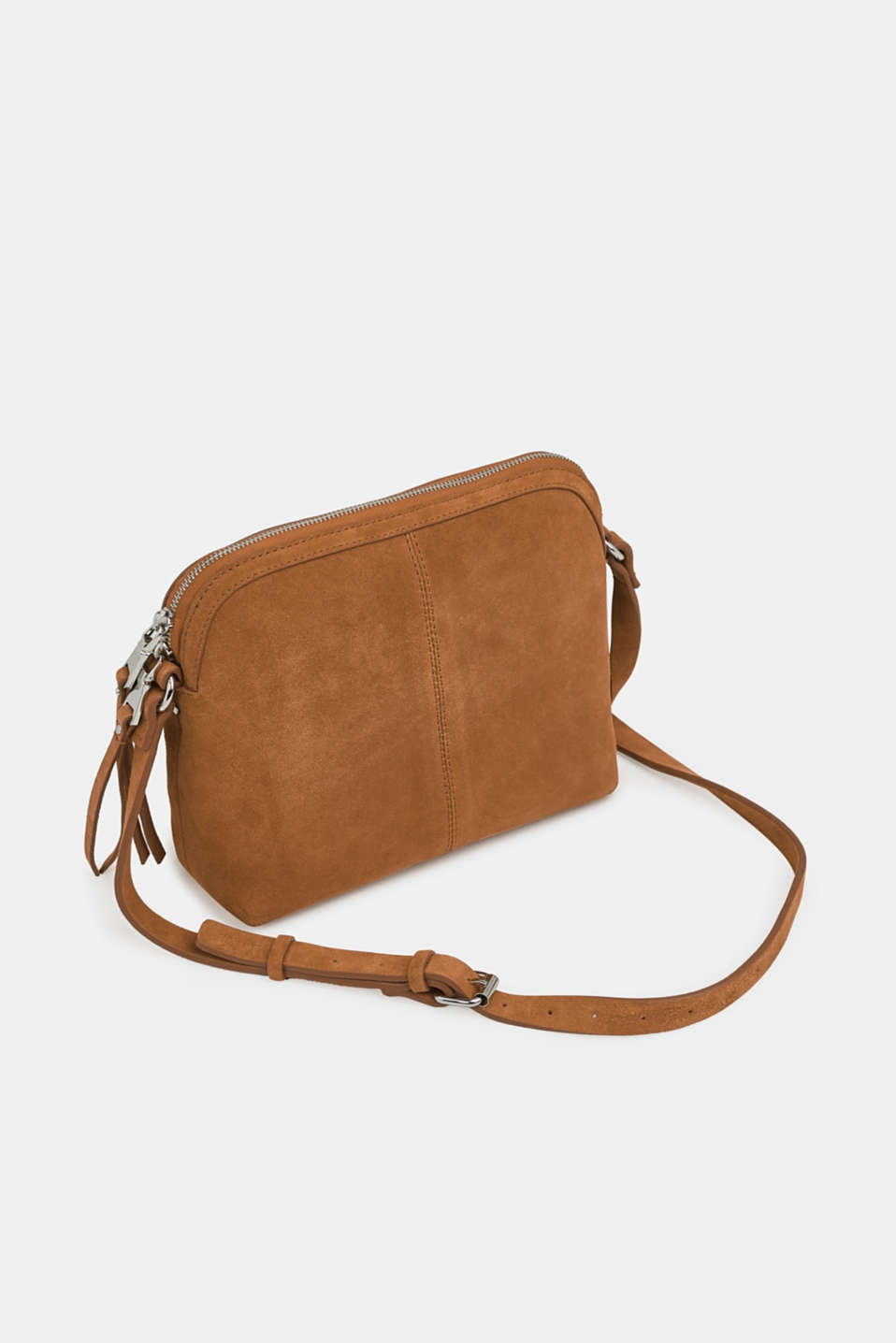 Suede shoulder bag, RUST BROWN, detail image number 2