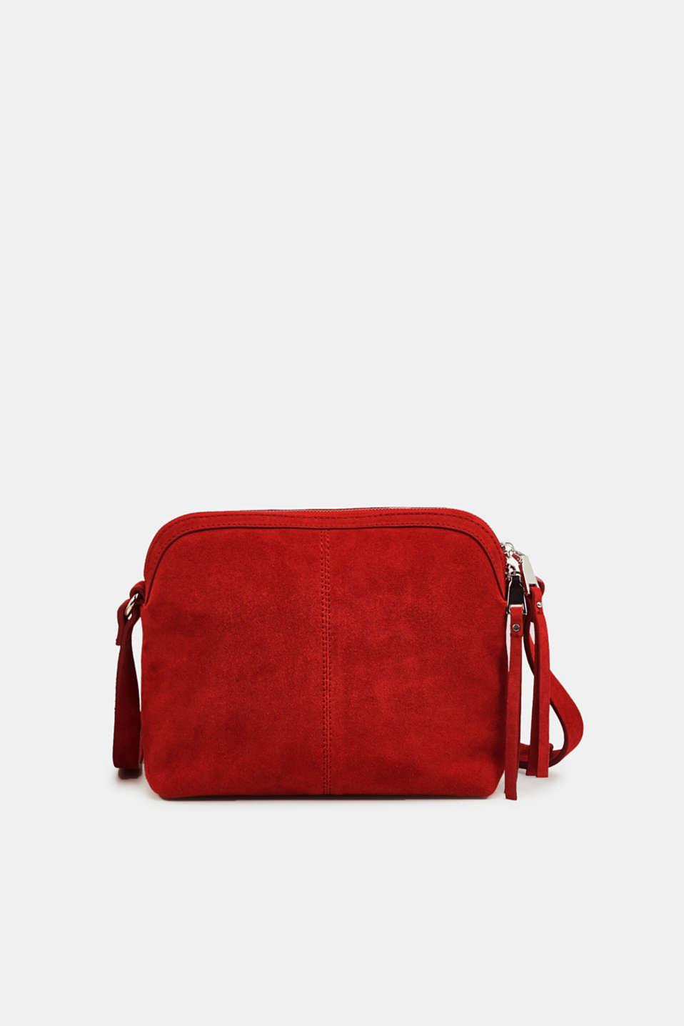 Suede shoulder bag, RED, detail image number 0