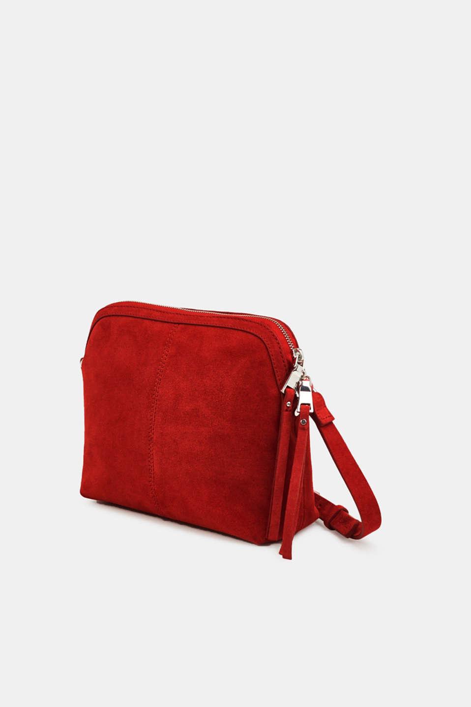 Suede shoulder bag, RED, detail image number 2