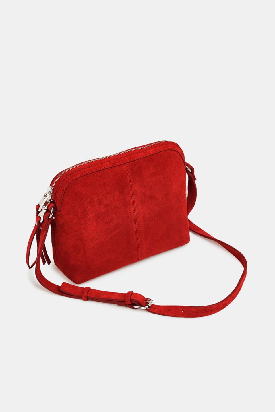 Suede shoulder bag, RED, detail image number 5