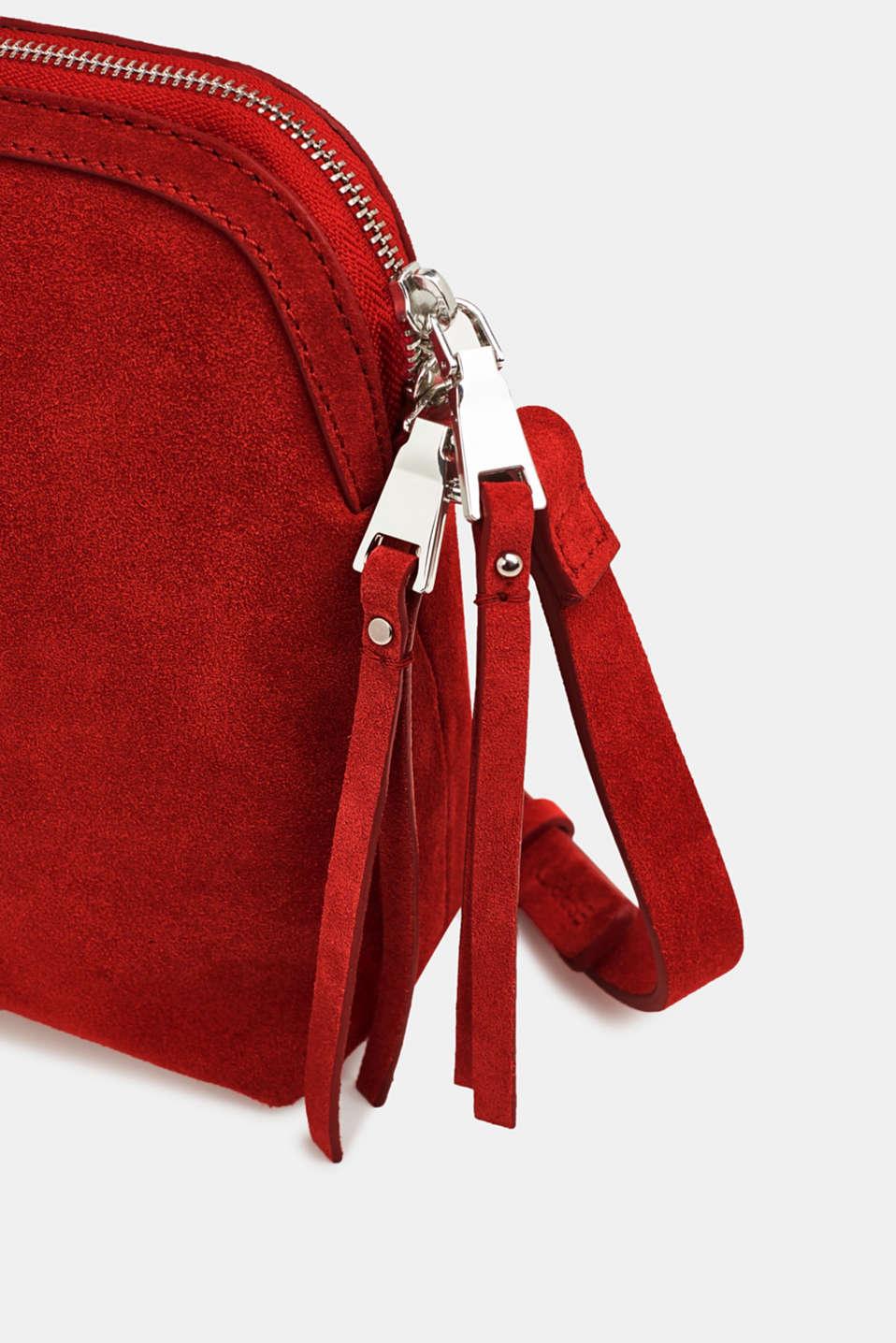 Suede shoulder bag, RED, detail image number 3