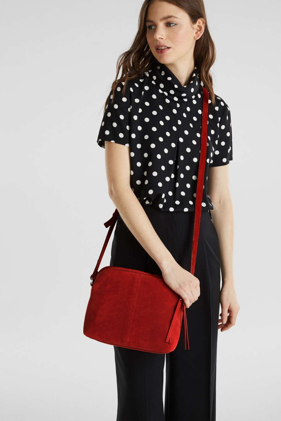 Suede shoulder bag, RED, detail image number 1
