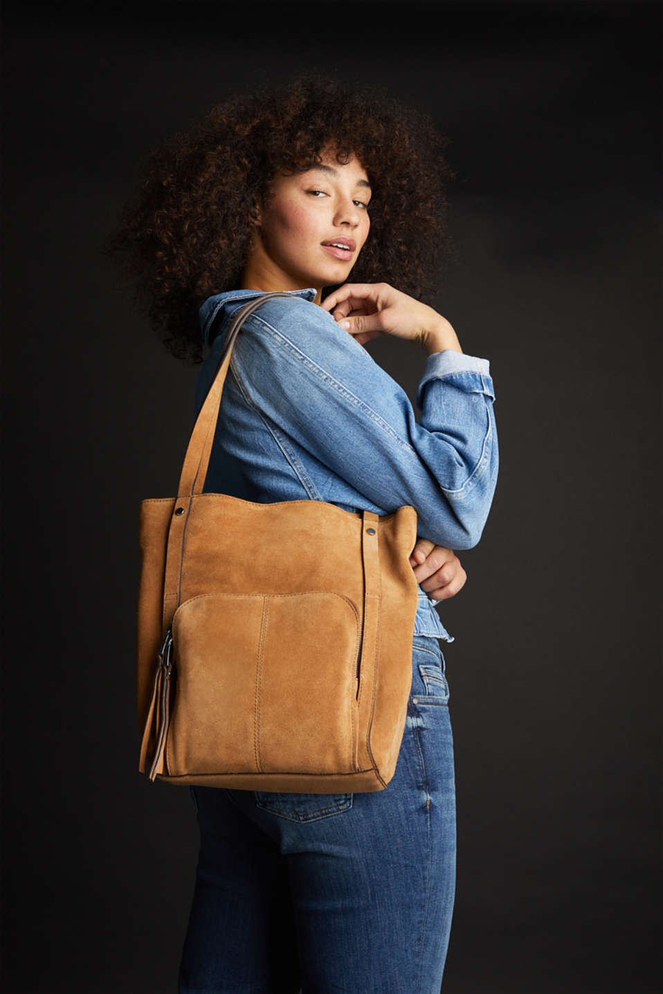 Leather tote bag, RUST BROWN, detail image number 1