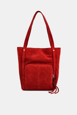 Leather tote bag, RED, detail