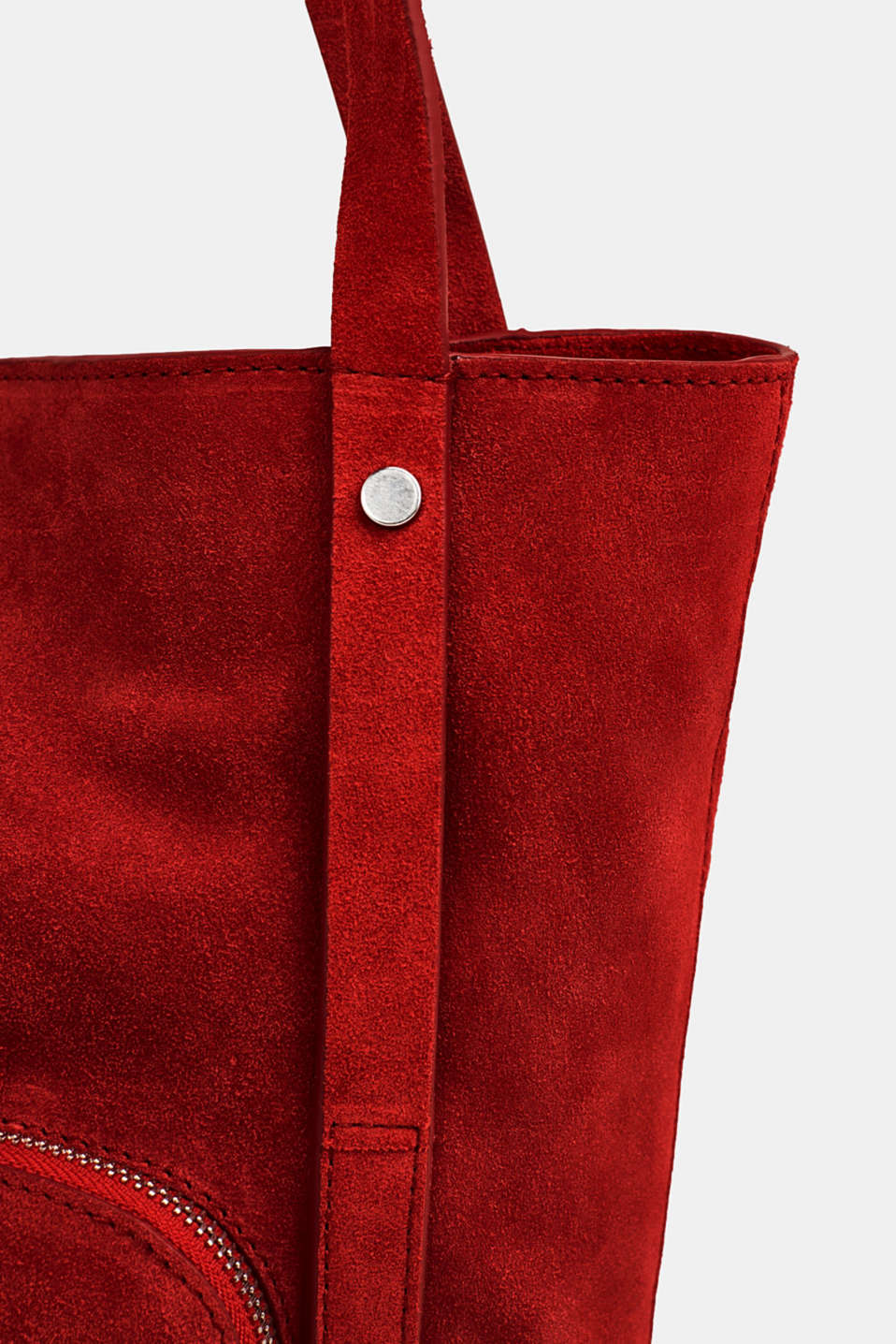 Leather tote bag, RED, detail image number 3