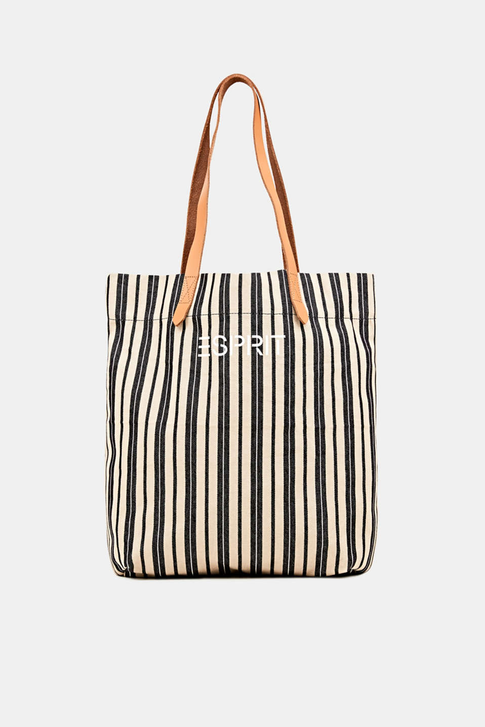 Esprit - Tote bag in canvas con manici in pelle