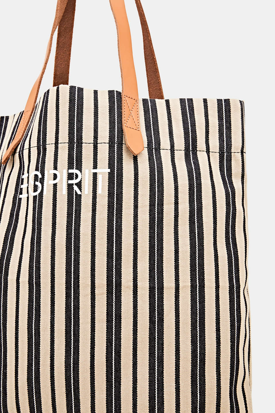 Tote bag made of canvas with leather straps, BLACK, detail image number 3