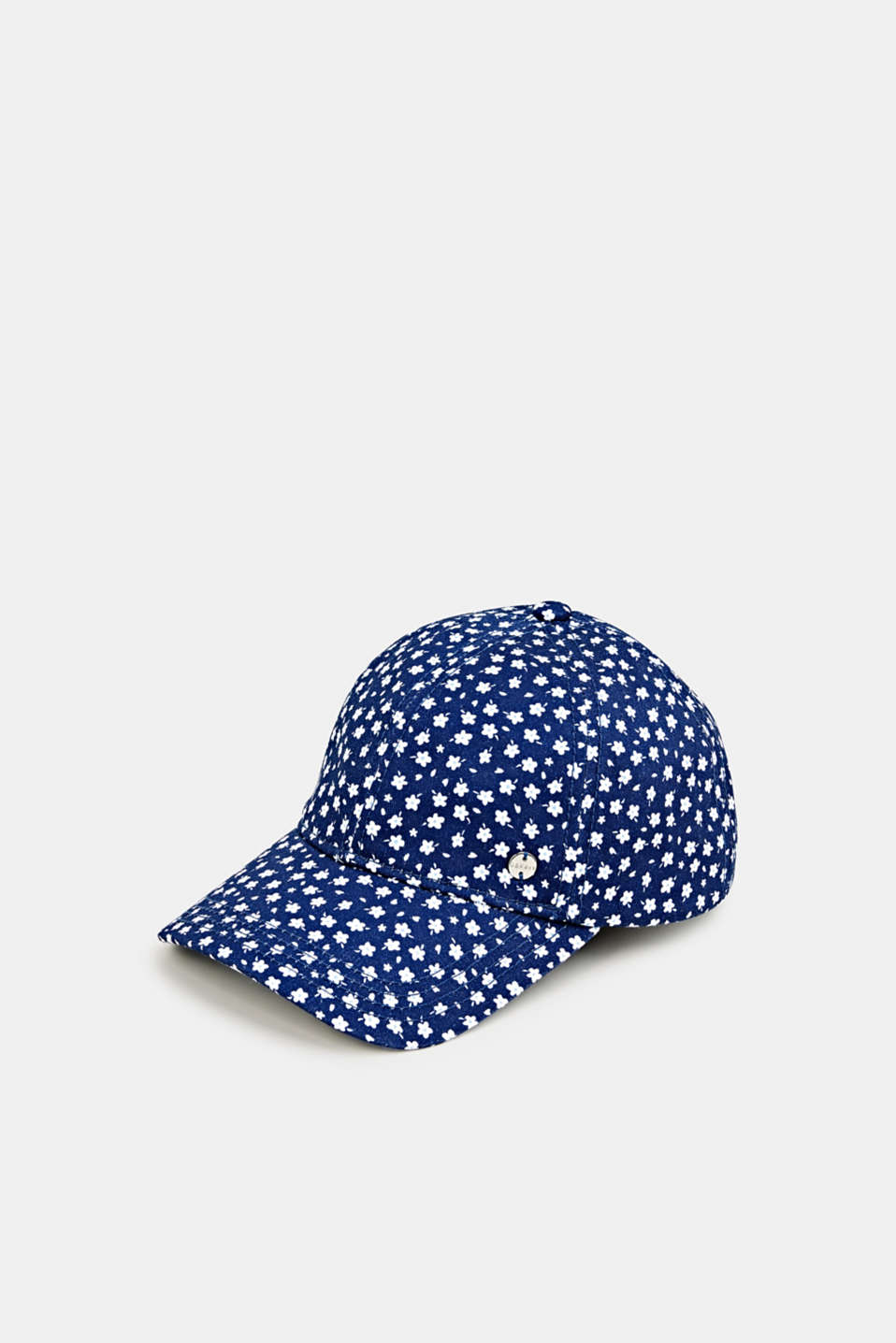 Cap with a floral print, 100% cotton, NAVY, detail image number 0