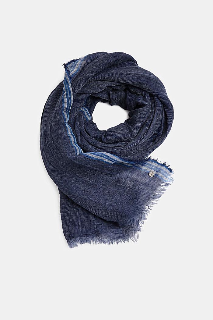 Linnenmix: sjaal met crinkle look, NAVY, detail image number 0