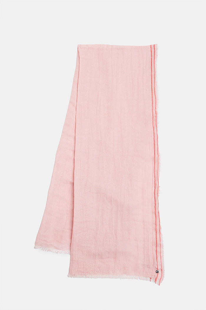 Linnenmix: sjaal met crinkle look, PINK, detail image number 0