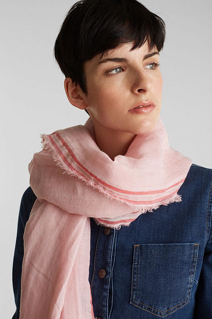 Linnenmix: sjaal met crinkle look, PINK, detail image number 1