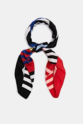 Recycled logo and stripe scarf, CHERRY RED, detail