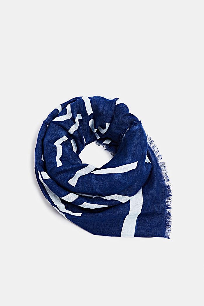Van een linnenmix: sjaal met logo all-over, DARK BLUE, detail image number 0