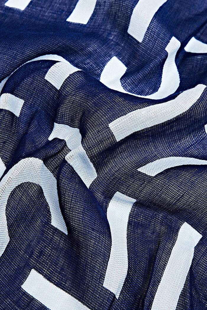 Van een linnenmix: sjaal met logo all-over, DARK BLUE, detail image number 2