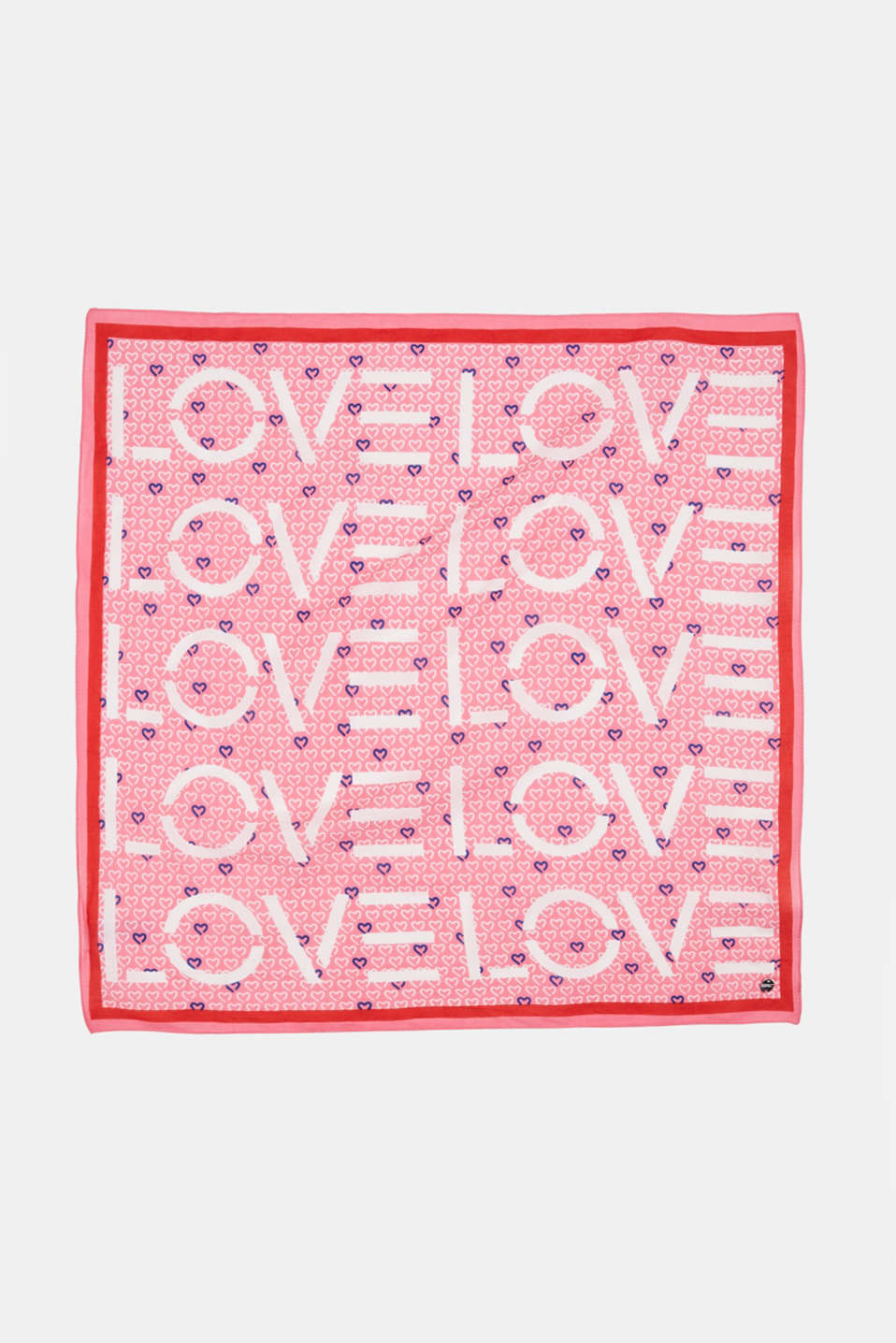 Scarf with a love print, LIGHT PINK, detail image number 3