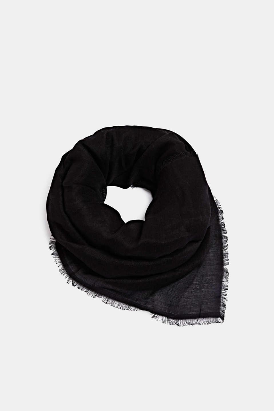 Made of blended linen: elegant, XXL scarf, BLACK, detail image number 0