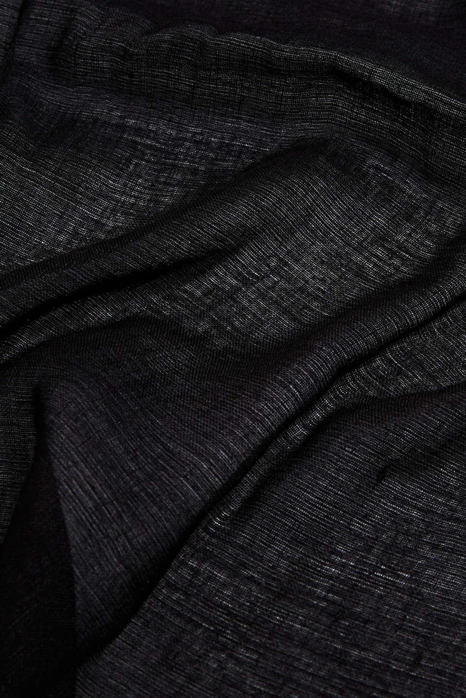 Made of blended linen: elegant, XXL scarf, BLACK, detail image number 2