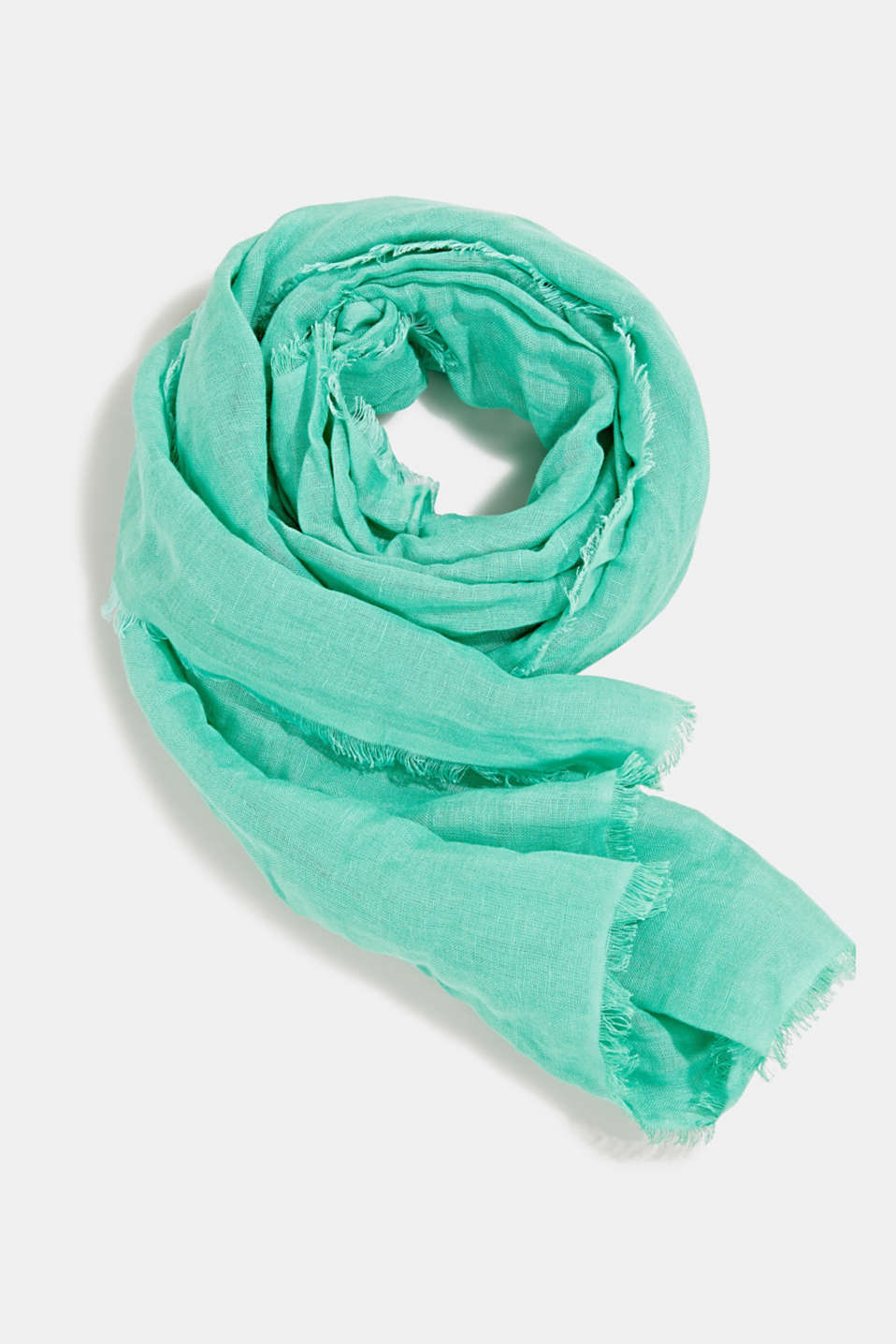 Made of blended linen: elegant, XXL scarf, GREEN, detail image number 0