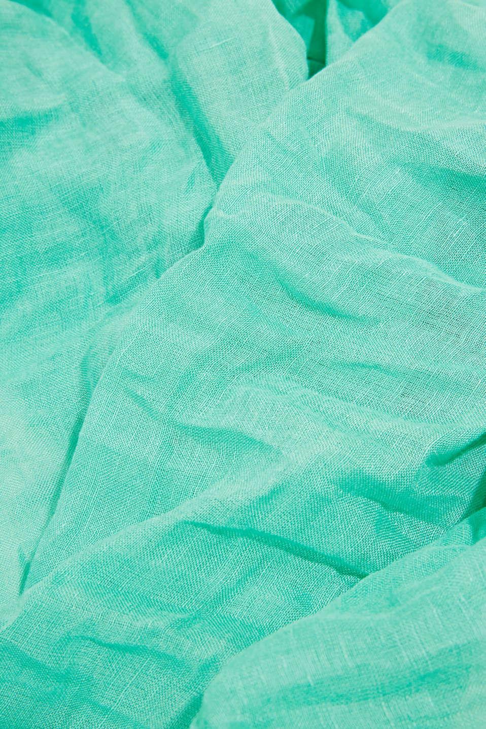Made of blended linen: elegant, XXL scarf, GREEN, detail image number 2