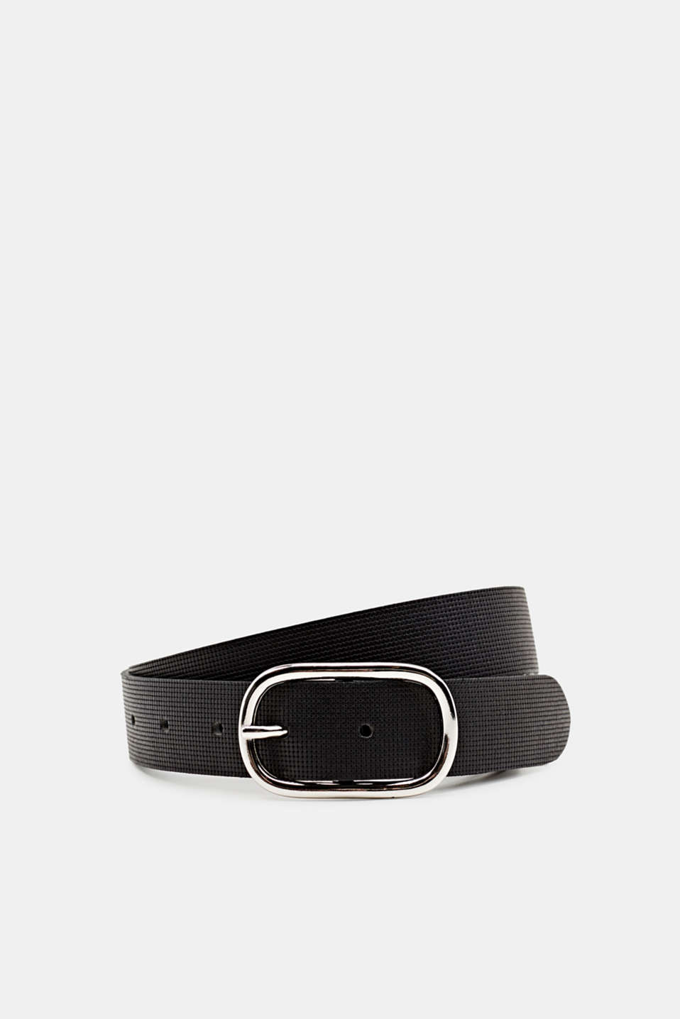 Perforated leather belt, BLACK, detail image number 0