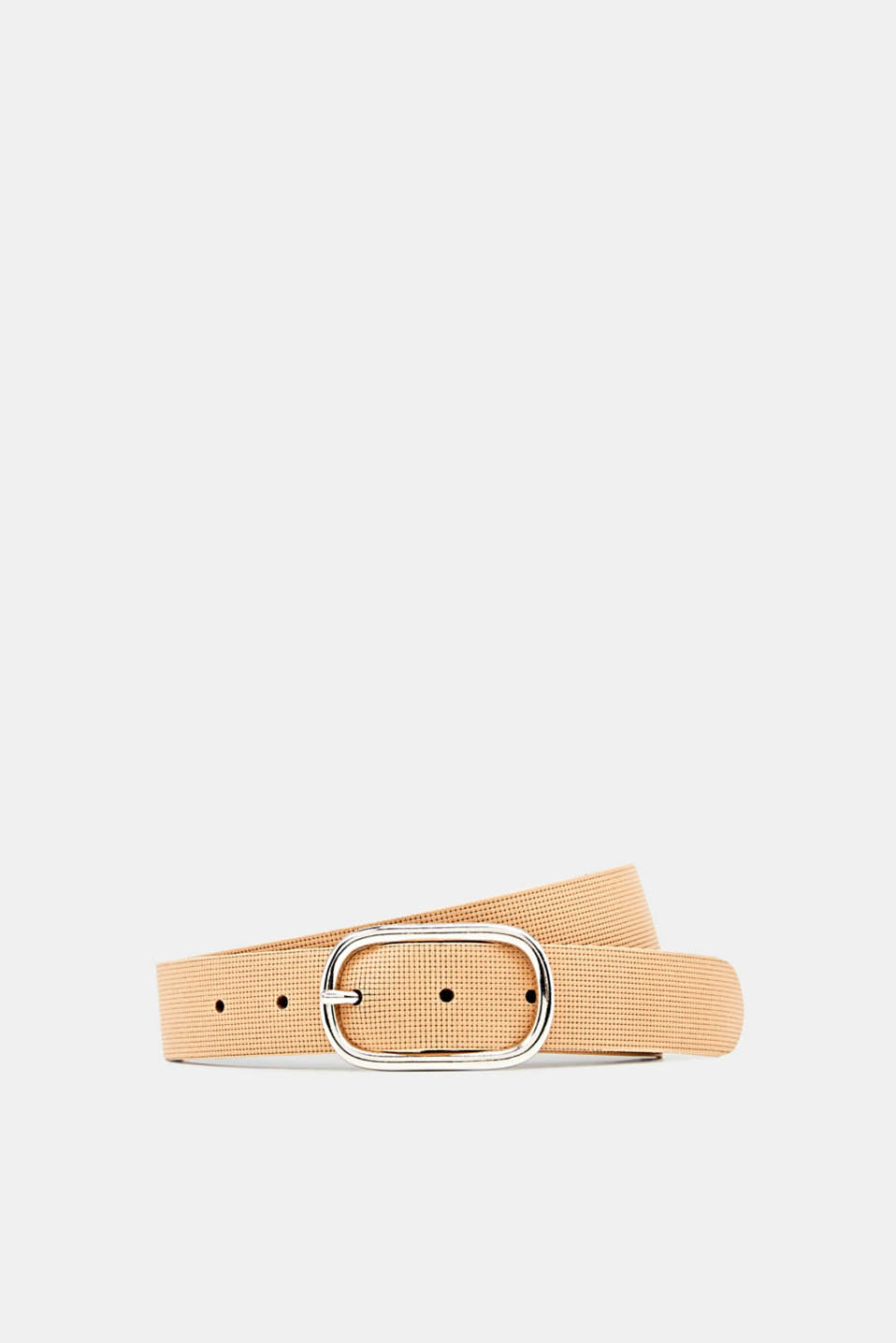 Perforated leather belt, BEIGE, detail image number 0
