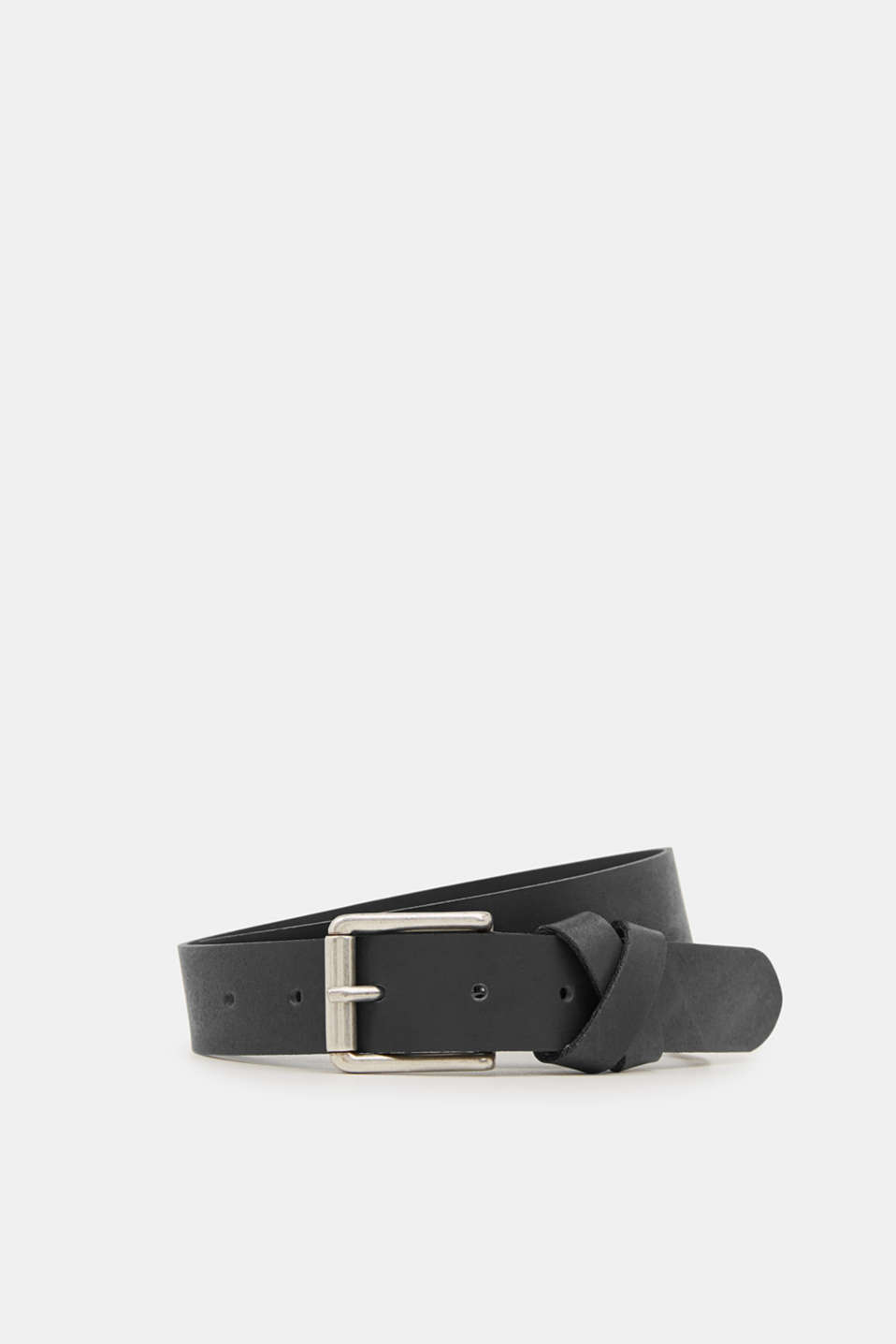 Made of leather: belt with a crossed-over loop, BLACK, detail image number 0