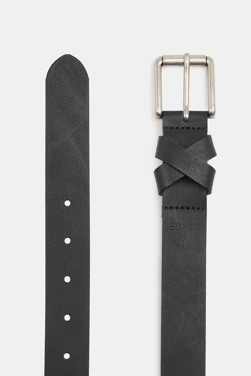 Made of leather: belt with a crossed-over loop, BLACK, detail image number 1