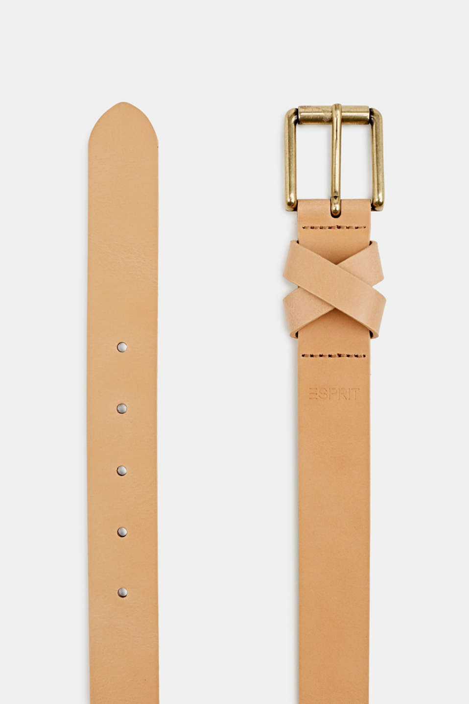 Made of leather: belt with a crossed-over loop, CAMEL, detail image number 1