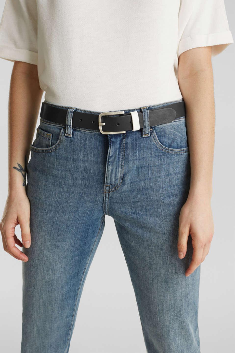 Leather belt, BLACK, detail image number 2