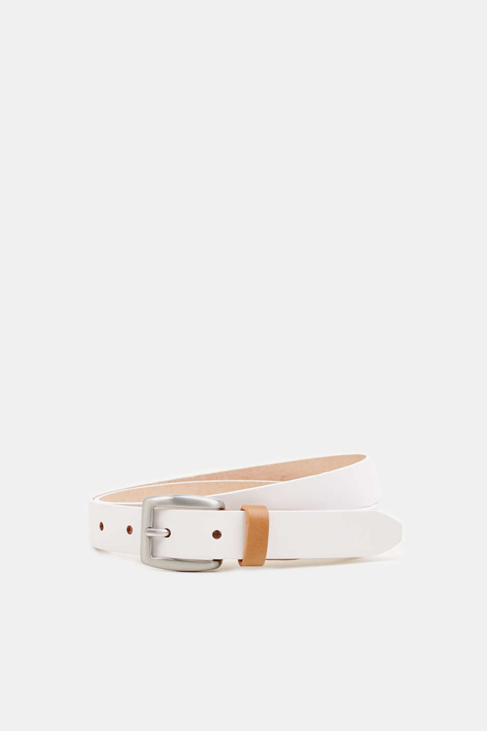 Susie T. range: cowhide leather belt, WHITE, detail image number 0