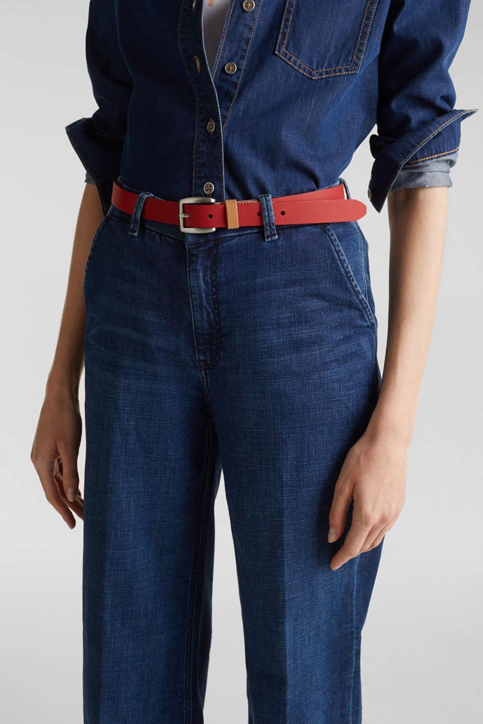 Susie T. range: cowhide leather belt, RED, detail image number 2