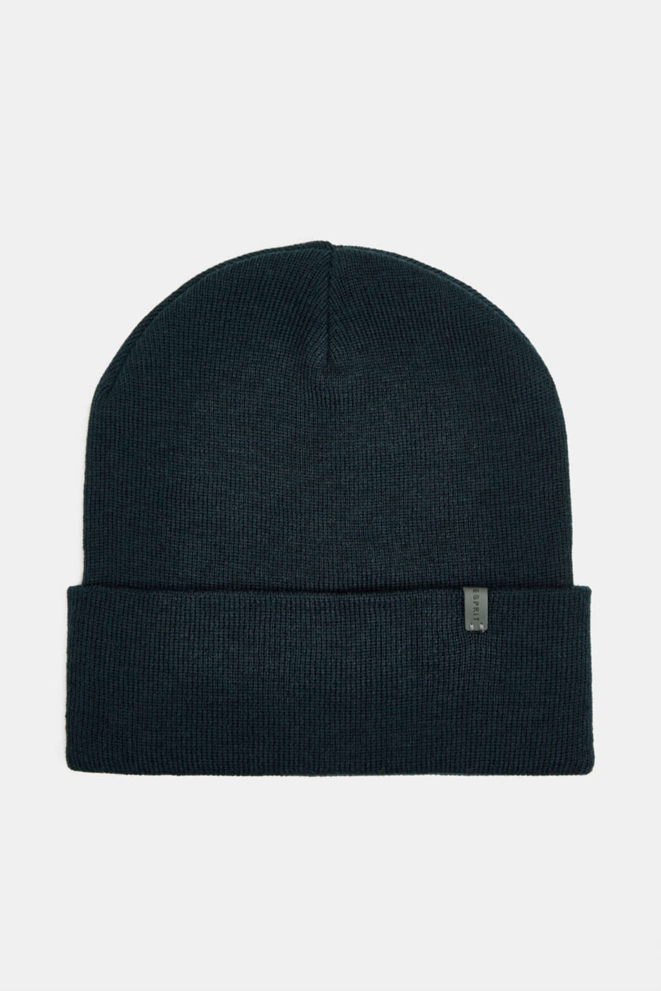 With wool: Beanie with a turn-up cuff, NAVY, detail image number 0