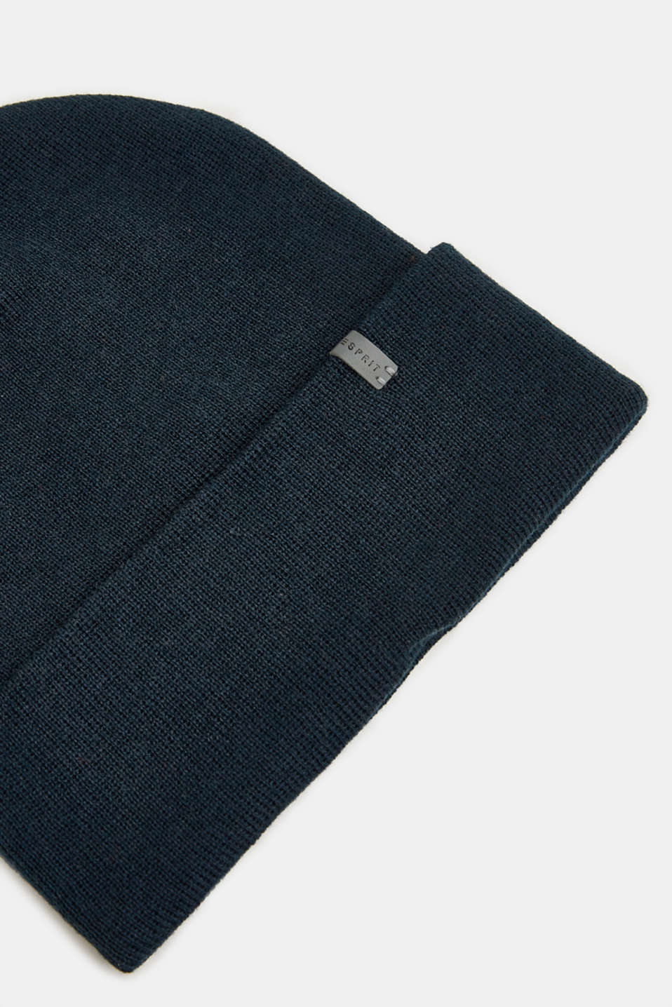 With wool: Beanie with a turn-up cuff, NAVY, detail image number 1