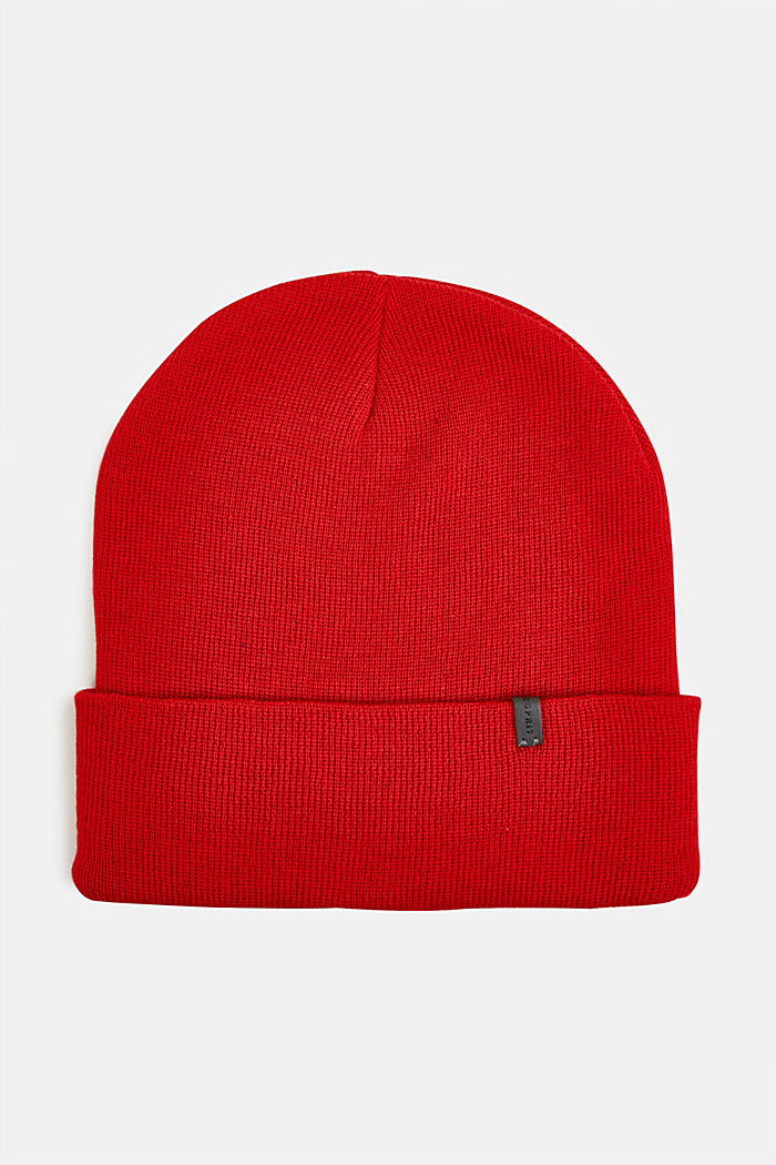 With wool: Beanie with a turn-up cuff, RED, detail image number 0