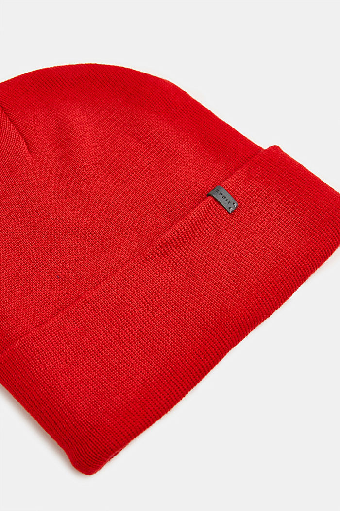 With wool: Beanie with a turn-up cuff, RED, detail image number 1