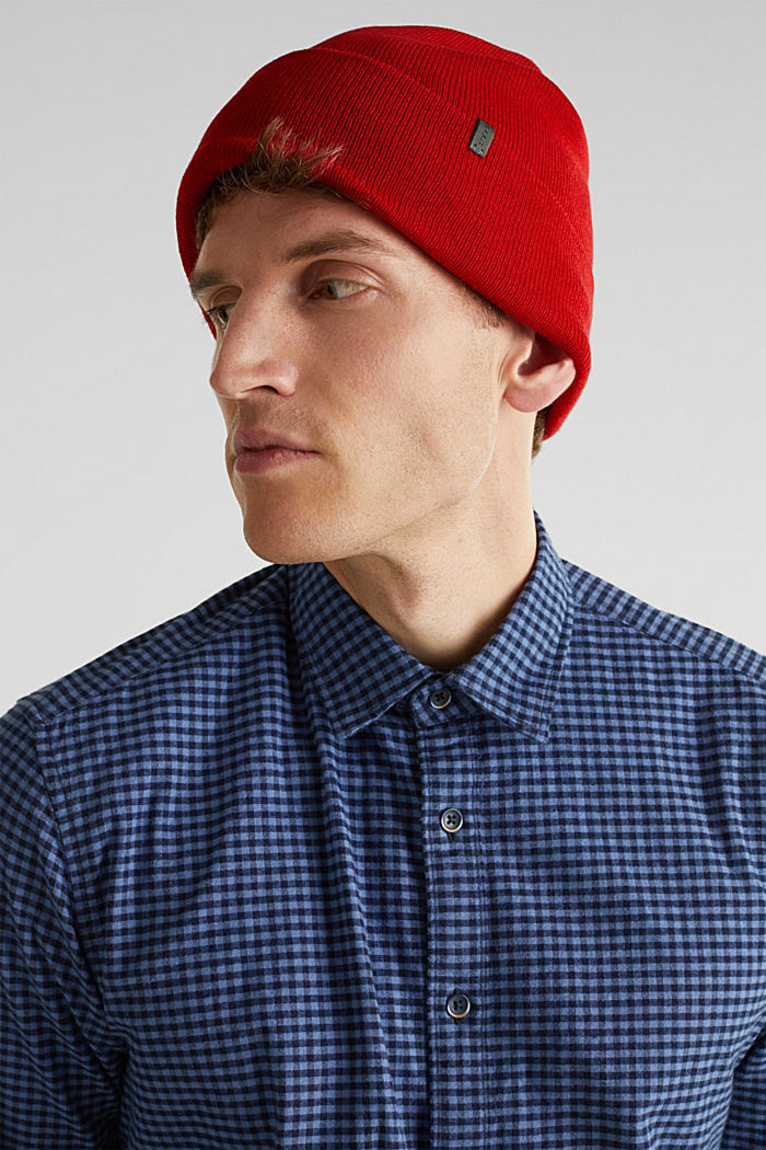 With wool: Beanie with a turn-up cuff, RED, detail image number 2
