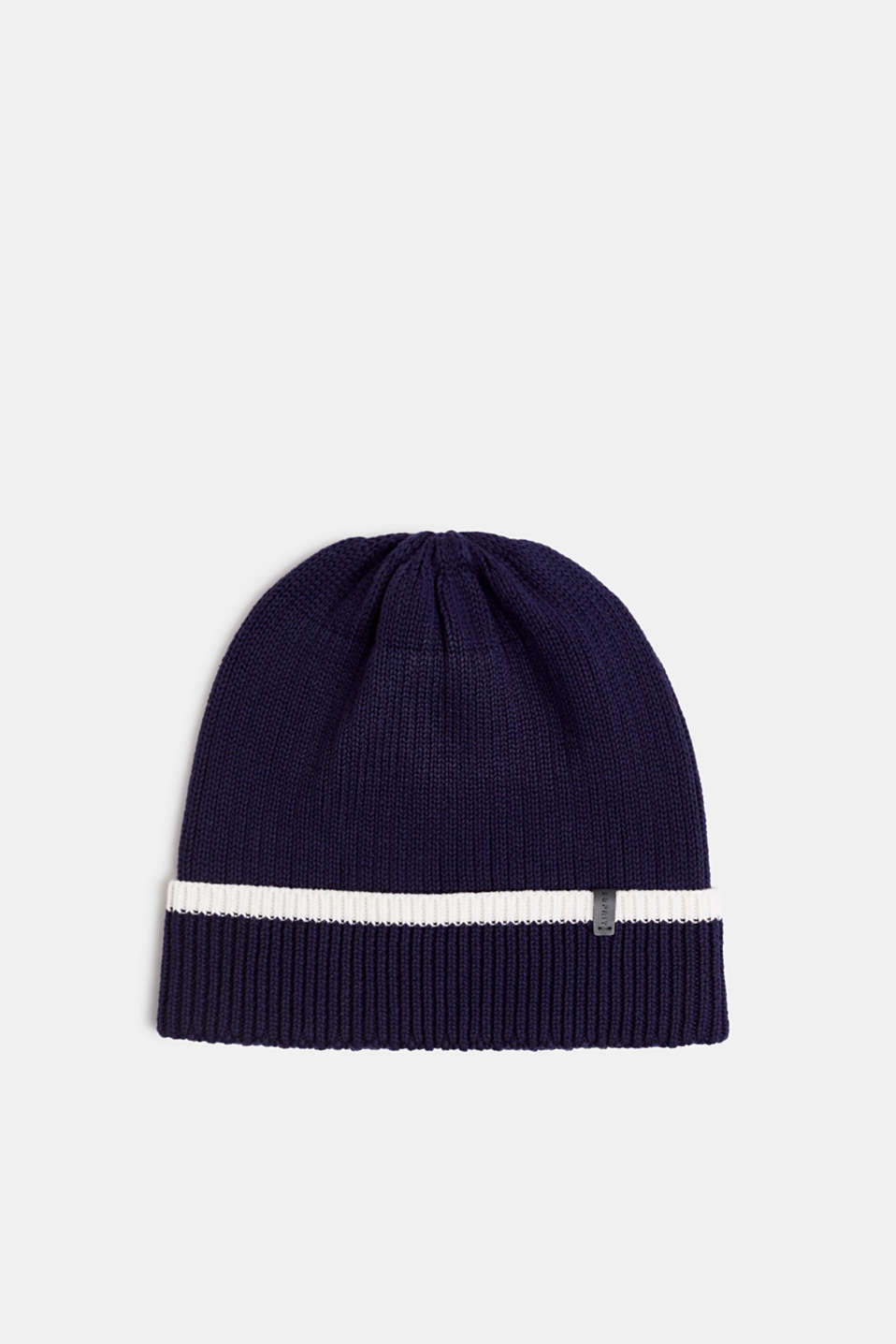 Striped knit beanie, NAVY, detail image number 0