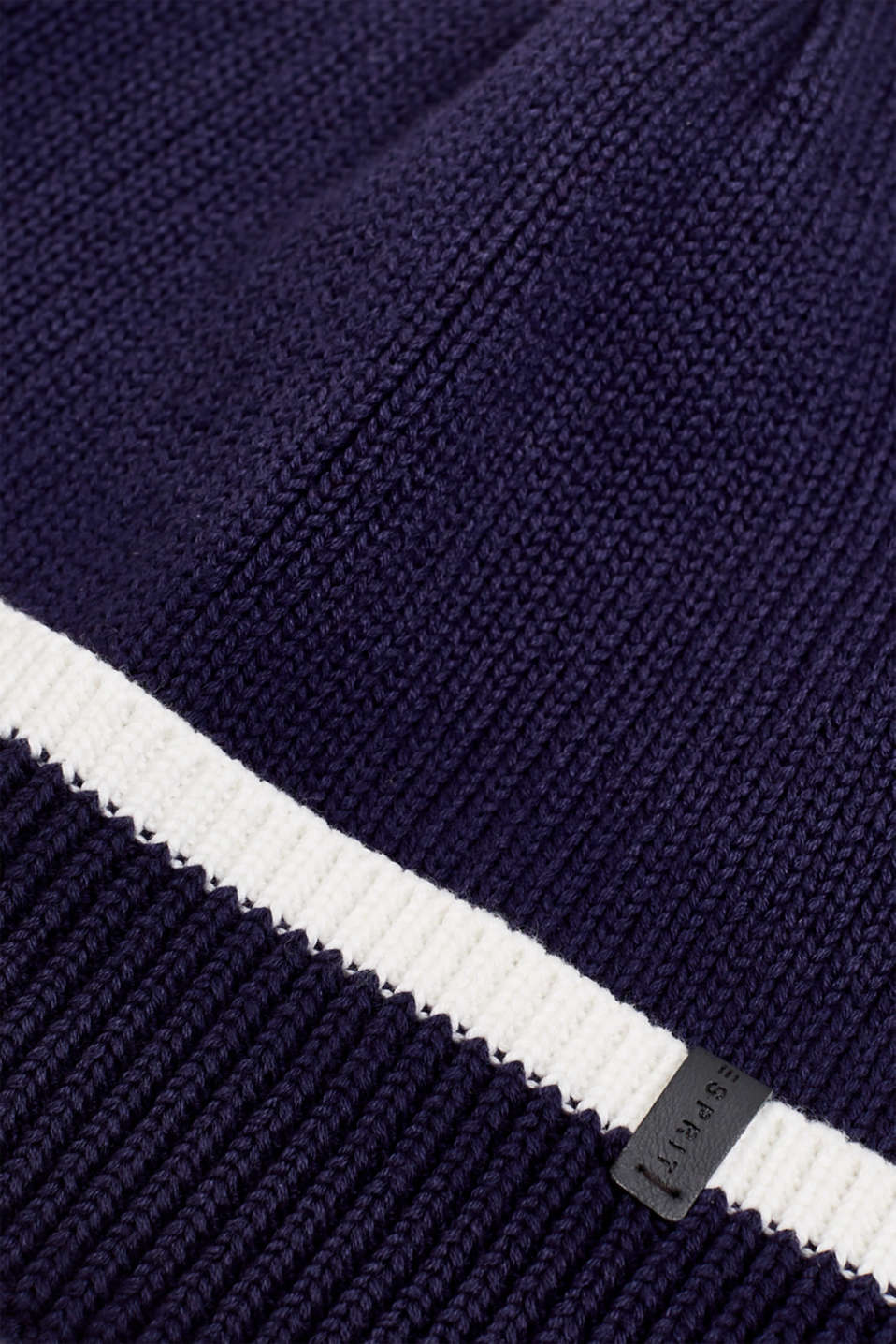 Striped knit beanie, NAVY, detail image number 1