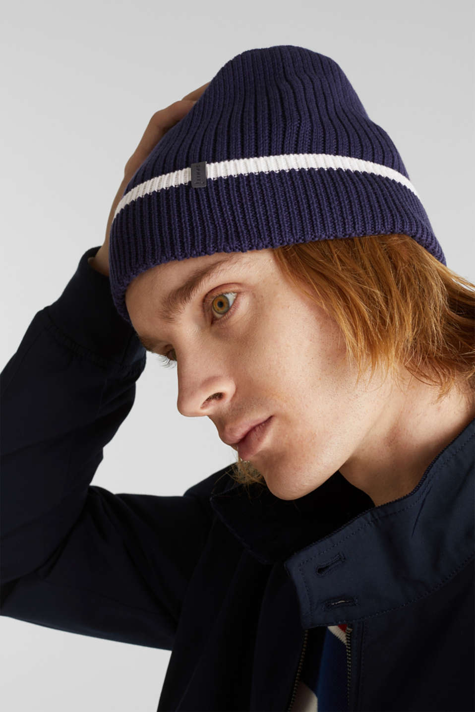 Striped knit beanie, NAVY, detail image number 2
