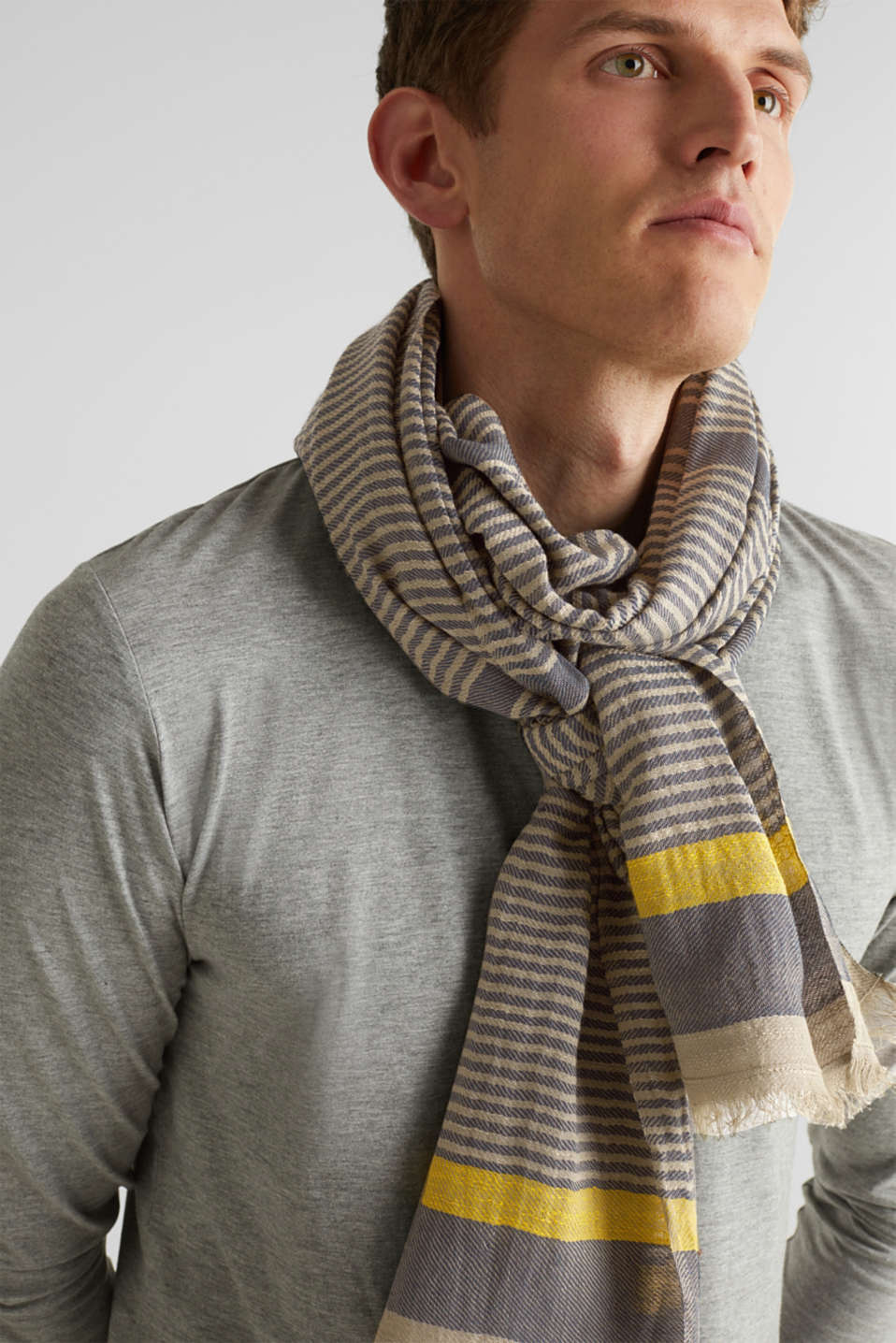 Woven scarf in 100% cotton, BEIGE, detail image number 1