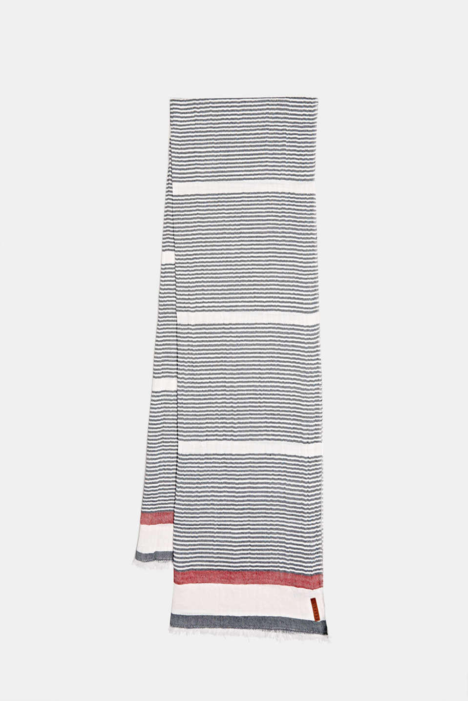 Woven scarf in 100% cotton, NAVY, detail image number 0