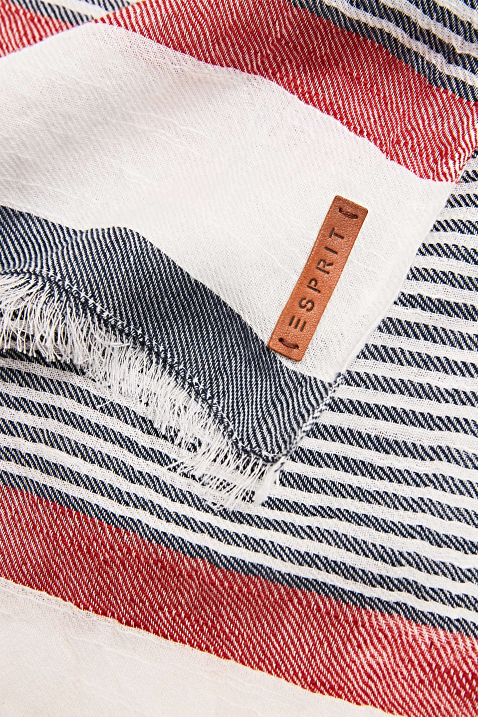 Woven scarf in 100% cotton, NAVY, detail image number 2