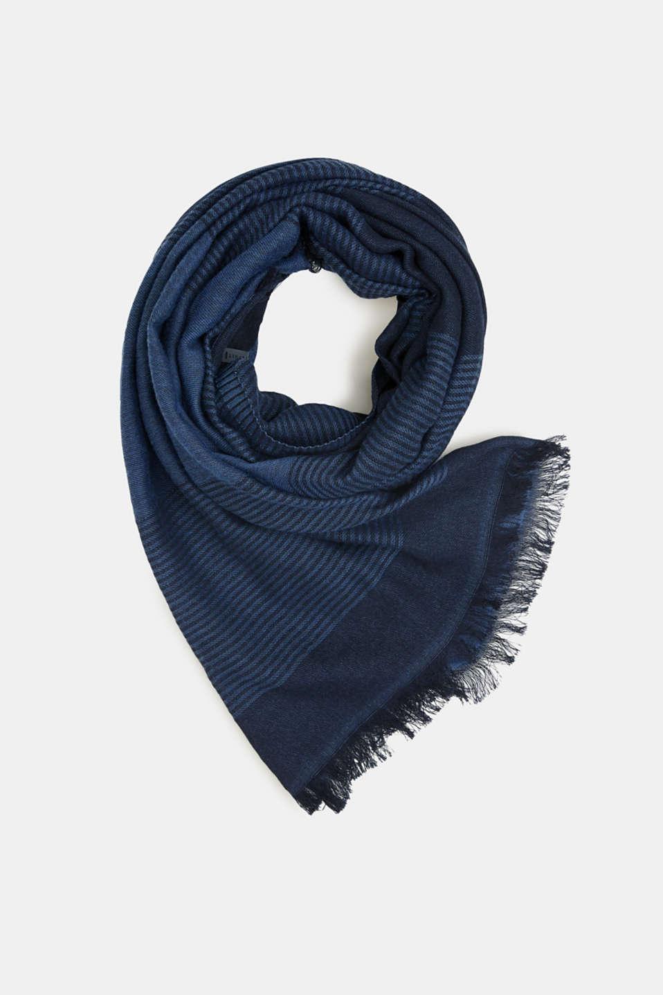 Blended cotton scarf, NAVY, detail image number 0