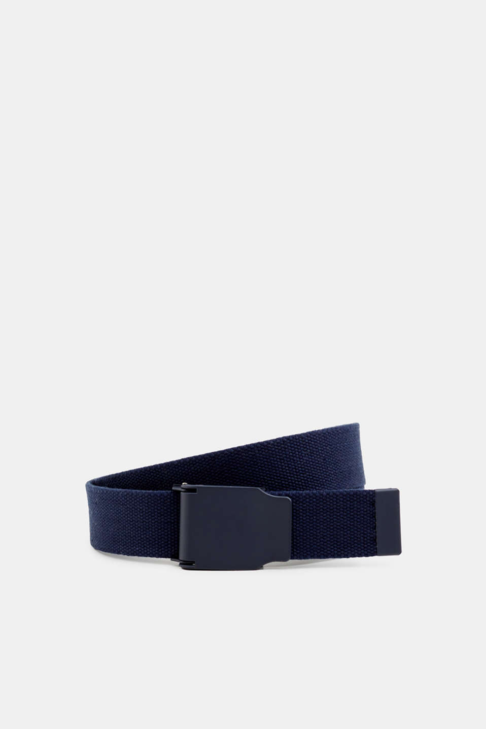 Woven belt with a metal fastener, NAVY, detail image number 0