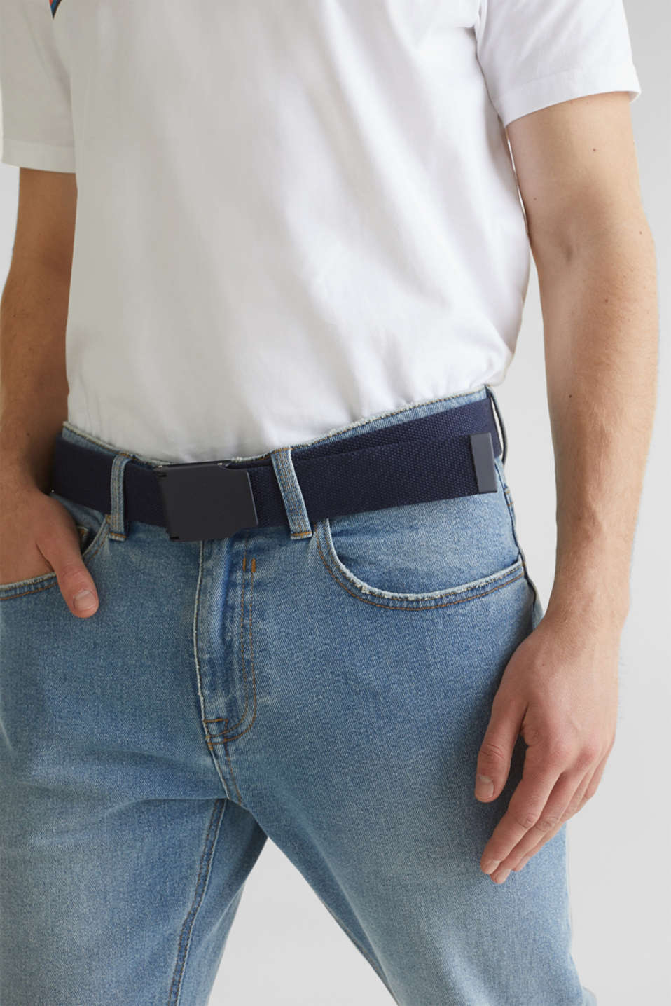 Woven belt with a metal fastener, NAVY, detail image number 2