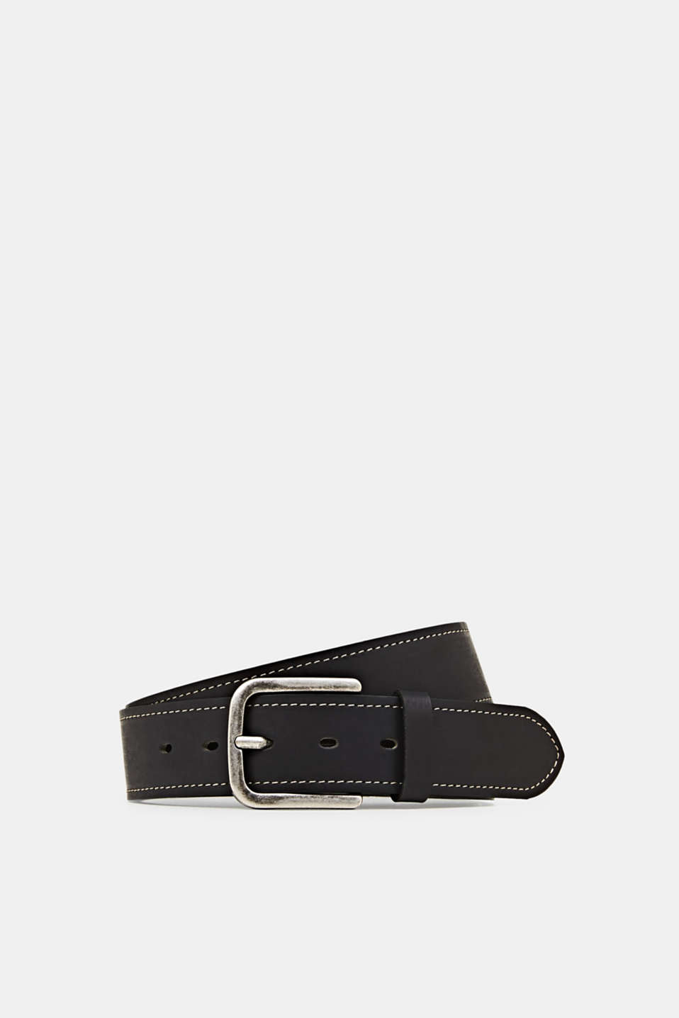 Belt with contrast stitching, 100% leather, BLACK, detail image number 0