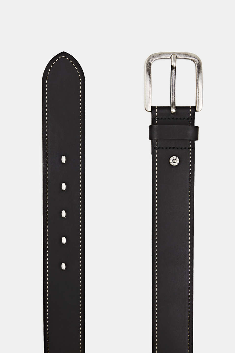 Belt with contrast stitching, 100% leather, BLACK, detail image number 1
