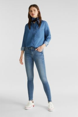 Skinny jeans made of tracksuit fabric, BLUE LIGHT WASH, detail